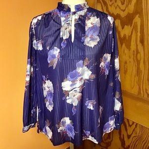Vintage 70s purple floral flowy tunic kurta